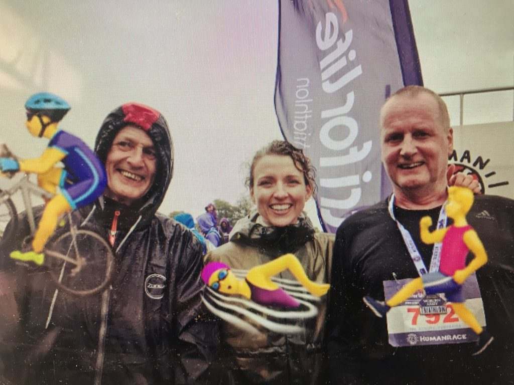 George, Suzanne and Tom having completed the Human Race Triathlon